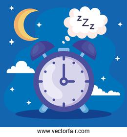 insomnia clock with bubble and moon vector design