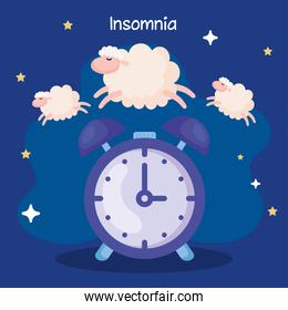 insomnia clock with sheeps and stars vector design