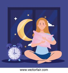 insomnia woman with pillow and clock vector design