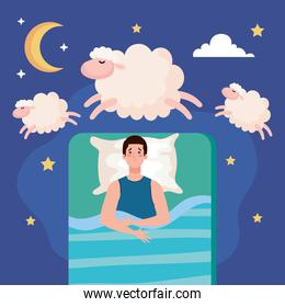 insomnia man on bed with pillow and sheeps vector design