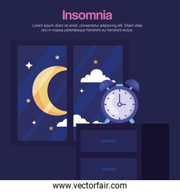 insomnia clock on furniture and moon at window vector design