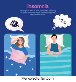 insomnia woman and man on bed with bubbles vector design