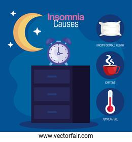 insomnia causes clock on furniture and moon vector design