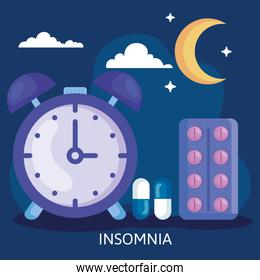 insomnia clock with pills moon and clouds vector design
