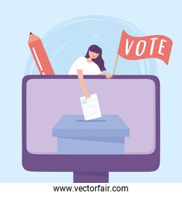 election day, online voting woman with ballot