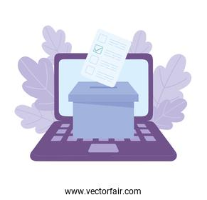 election day, online voting laptop and box with ballot