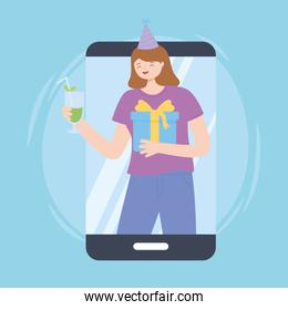 online party smartphone video woman with gift and drink