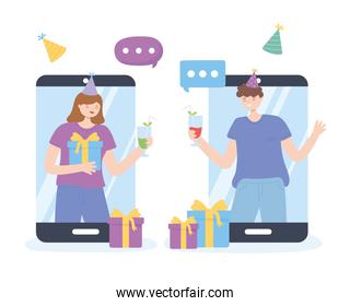 online party, man and woman in smartphone connection celebrating meeting