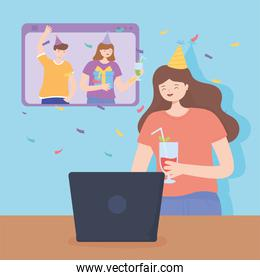 online party, happy woman with cocktail with laptop, friends smartphone celebrating