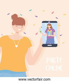 online party, woman with smartphone talking friend by internet celebration party