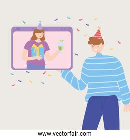 video call woman in festive hat celebrating online with man