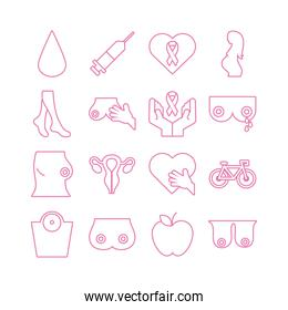 pack of sixteen breast cancer set icons