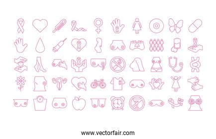 bundle of fifty breast cancer, line style icons