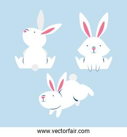 group of little rabbits comic characters