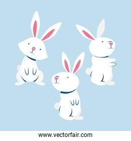 group of little rabbits characters