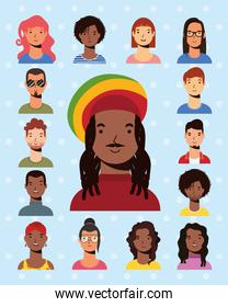 afro ethnic man with jamaican hat and interracial people