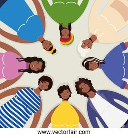group of afro women characters around