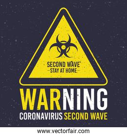 covid19 second wave lettering campaign with biohazard signal in triangle