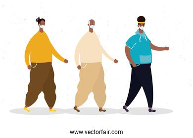 group of afro men wearing medical mask characters icon
