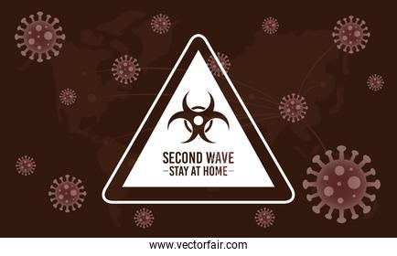 covid19 second wave lettering campaign with biohazard sign in brown background