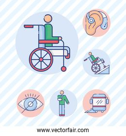 person in wheelchair with bundle of disabilities set icons