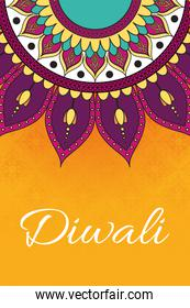 happy diwali celebration lettering with mandala decoration in orange background