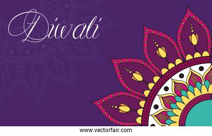 happy diwali celebration lettering with mandala decoration in purple background