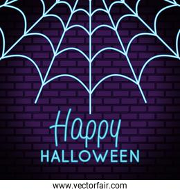 happy halloween lettering in neon light with spiderweb