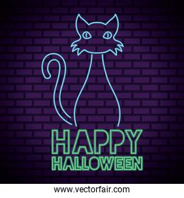 happy halloween lettering in neon light with cat