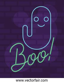 boo word halloween lettering in neon light with ghost