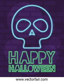 happy halloween lettering in neon light with skull