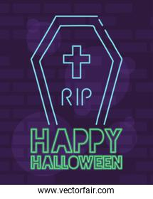 happy halloween lettering in neon light with coffin