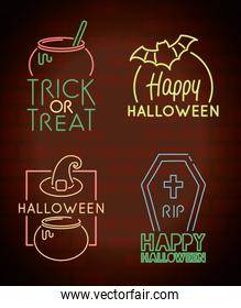 happy halloween bundle set icons and letterings in neon light