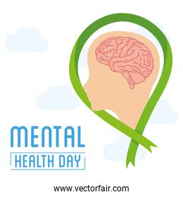 Mental Health Day lettering with brain in profile human and ribbon