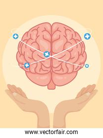 Mental Health Day poster with hands lifting brain