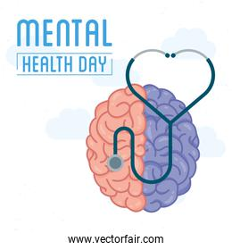 Mental Health Day lettering with brain and stethoscope