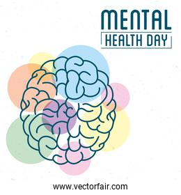 Mental Health Day lettering with brain and colors
