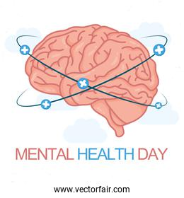Mental Health Day lettering with brain human