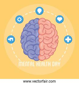 Mental Health Day lettering with brain human and set icons around