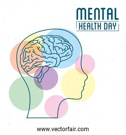 Mental Health Day lettering with brain in profile human and colors balls