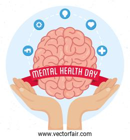 Mental Health Day poster with hands lifting brain and set icons