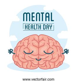 Mental Health Day lettering with brain comic character