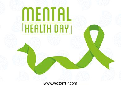 Mental Health Day lettering with green campaign ribbon