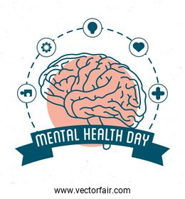 Mental Health Day lettering with brain human and set icons