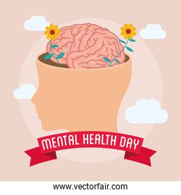 Mental Health Day lettering with brain in head profile and flowers