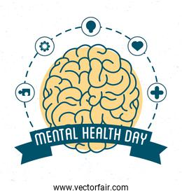 Mental Health Day lettering with brain and set icons around