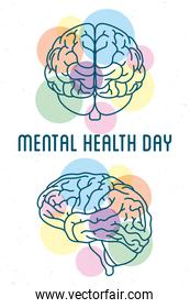 Mental Health Day lettering with brains humans and colors