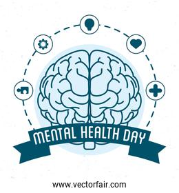 Mental Health Day lettering with brain and icons around