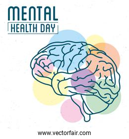 Mental Health Day lettering with brain human and colors balls