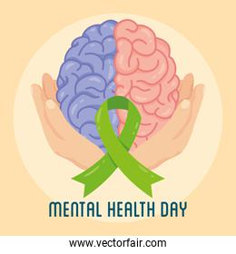 Mental Health Day lettering with hands lifting brain and ribbon campaign